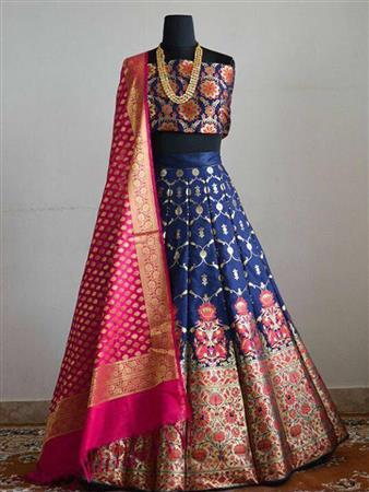 BANARASI SILK BROCADE FANCY LEHENGA CHOLI BY PATTARI- 4012