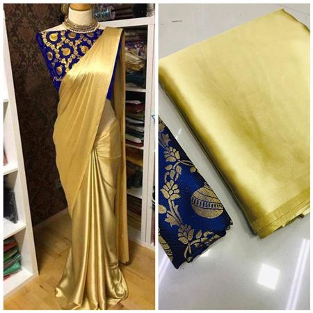 PURE SATIN SILK SAREE WITH JAQURED BLOUSE